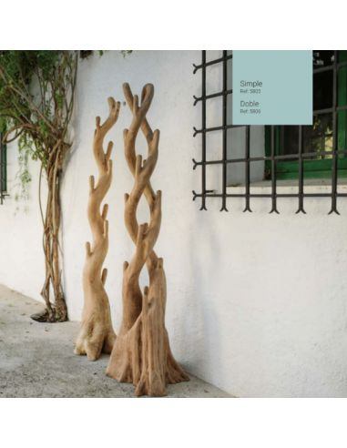 Perchero madera teka artesanal.