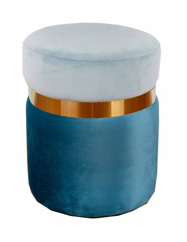 Puff tonos azules terciopelo