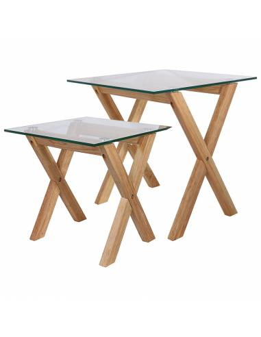 Set 2 mesas auxiliartes en madera y cristal templado