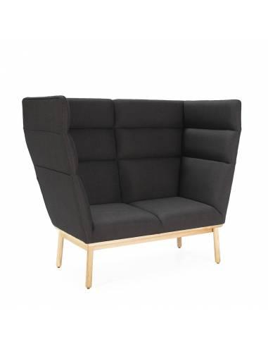 Sofa íntimo con respaldo trasero y lateral alto. Recepción hoteles y lofts diferenciadores.