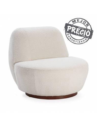 Vanguardista sillón en tela blanca y base de madera