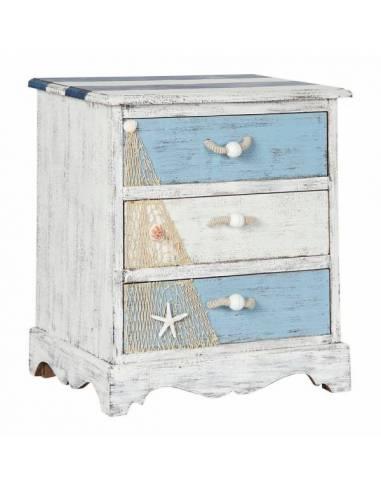 Mesita de noche de estilo marino. Su acabado envejecido en color blanco, celeste y azul marino le aportan un toque vintage