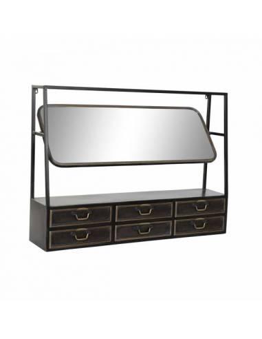 Mueble para colgar con espejo y 6 cajones. Estilo loft con acabado en metal.