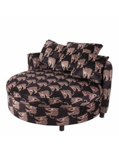 Sofá circular elegante y chic de la Colección Barroco, tapizado en terciopelo con motivos animalistas