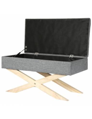 Banco estilo baúl almacenaje con patas de madera. Cómodo y práctico asiento tipo maleta.