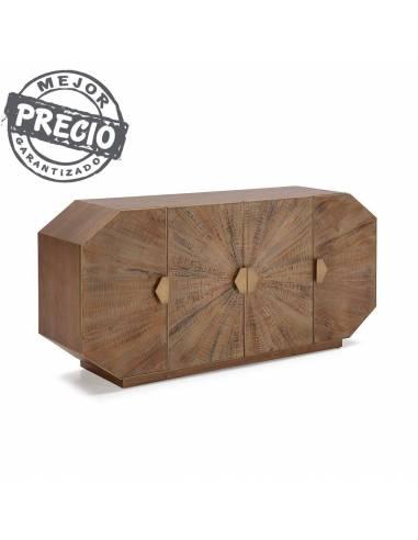 Aparador octagonal de 180 cm. de largo y 4 puertas con estantes interiores. La madera erosionada le da un aspecto único