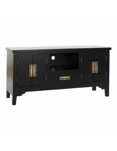 Mueble bajo tv de estilo oriental. Dispone de 2 puertas y 1 cajón con estante y orificio trasero pasacables.