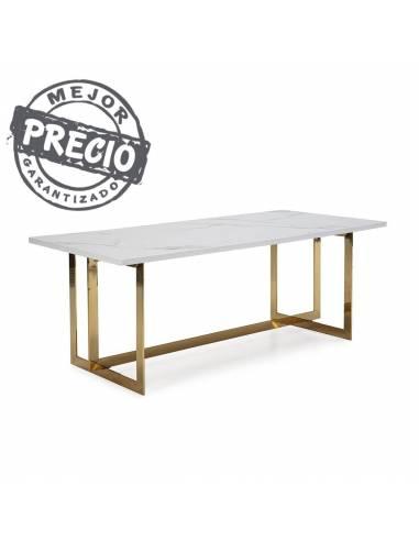 Elegante mesa de comedor con encimera en mármol blanco y solida estructura cruzada en acero dorado.