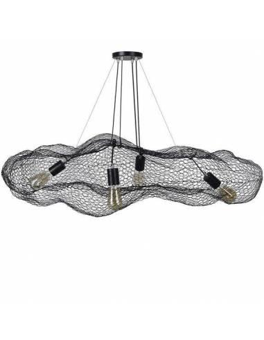 Lámpara de techo de malla metálica negra. Su aspecto de nube y tamaño aporta originalidad a grandes espacios.