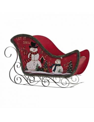 Singular trineo papa noel pintado con muñecos de nieve y motivos navideños. Realizado a mano en madera y metal.