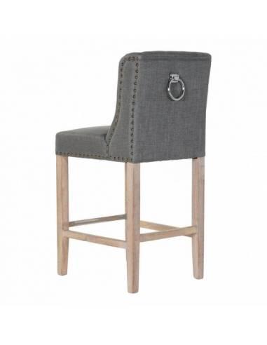 Acogedor taburete de madera de caucho y lino gris oscuro. Un robusto taburete alto de diseño clásico con acabado vanguardista
