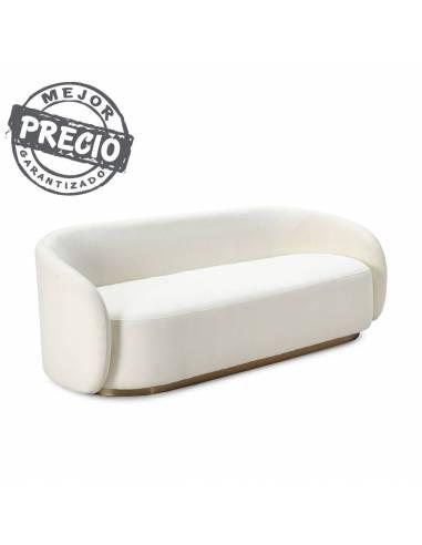 Sofá de diseño vanguardista en tela de color blanco y base de acero acabado dorado. Un sofá con estilo propio