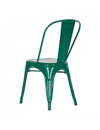 Silla metálica pintura verde vintage. Un atractivo diseño de estilo loft para una funcional silla