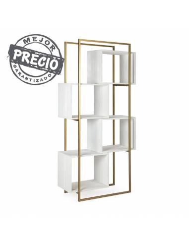 Original estantería de estilo cubista en madera blanca y metal acabado dorado. Un diseño selecto para espacios selectos