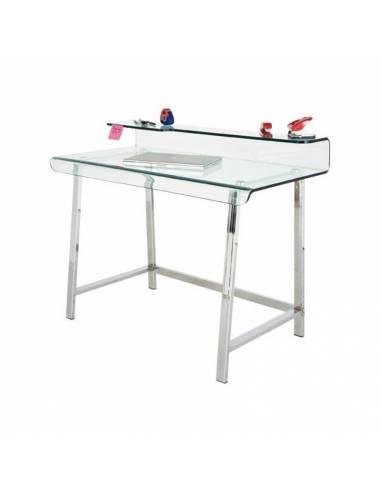 Elegante y funcional mesa escritorio con encimera de cristal curvado.