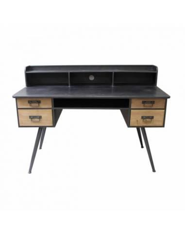 Mesa escritorio de estilo vintage realizada a mano con madera de abeto y metal.