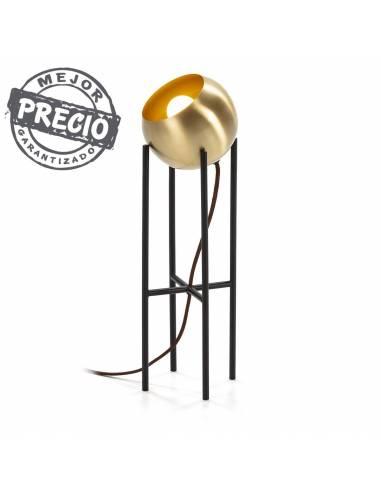 Lámpara de sobremesa de diseño vanguardista. Esfera dorada suelta para colocar en la dirección deseada
