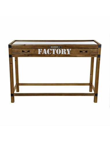 Consola de estilo industrial con cajón dividido en múltiples departamentos e impresión vintage.