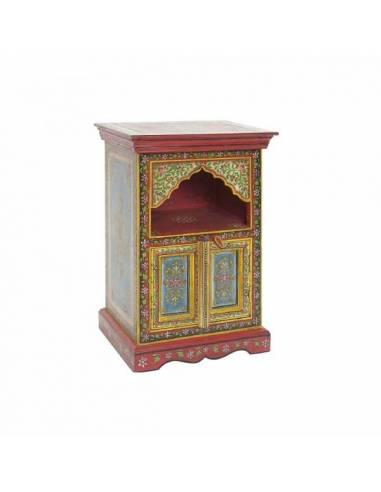 Exótica mesita de noche artesanal de estilo indio. Realizada en madera de mango y pintada a mano