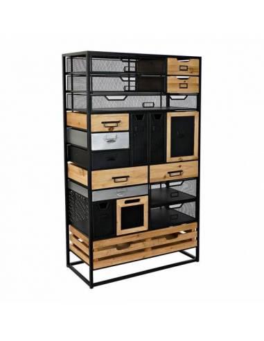 Mueble organizador con cajones de diferente tamaño y forma y estantes abiertos. Cajonera de estilo industrial