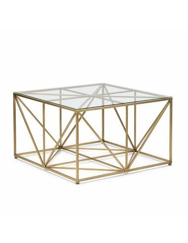 Mesa Centro Metal Dorado Cristal. Diseño Barras Cubo